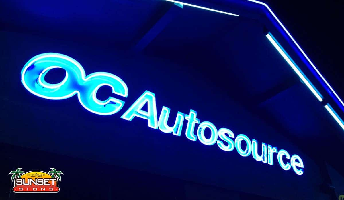 Outdoor Lighted Business Sign